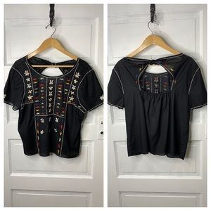 Madewell Tops - MadeWell NWOT Embroidered Tie-Back Cut-out Top